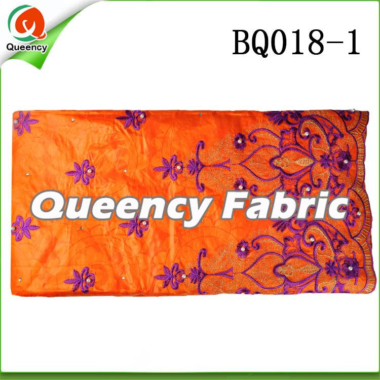 Orange Embroidery bazin fabric