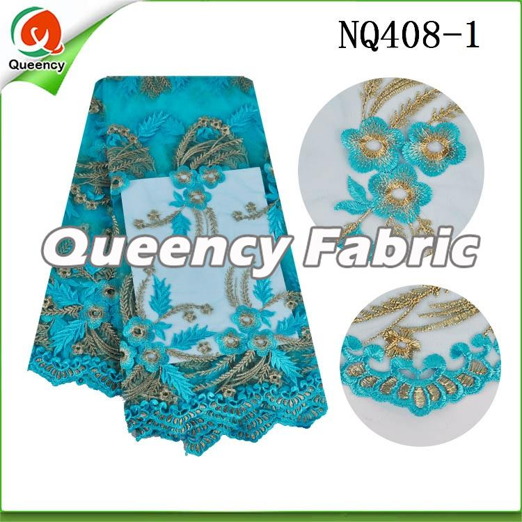 Aqua Flower Embroidered Netting Fabric African Lace