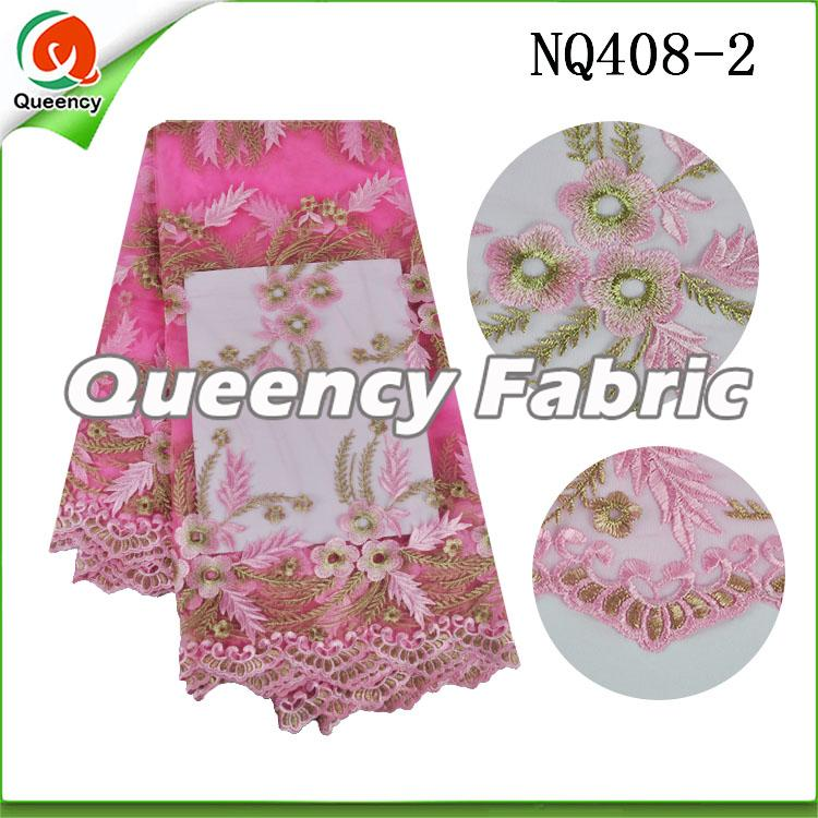 Pink Flower Embroidered Netting Fabric African Lace
