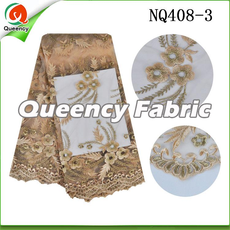 Gold Flower Embroidered Netting Fabric African Lace