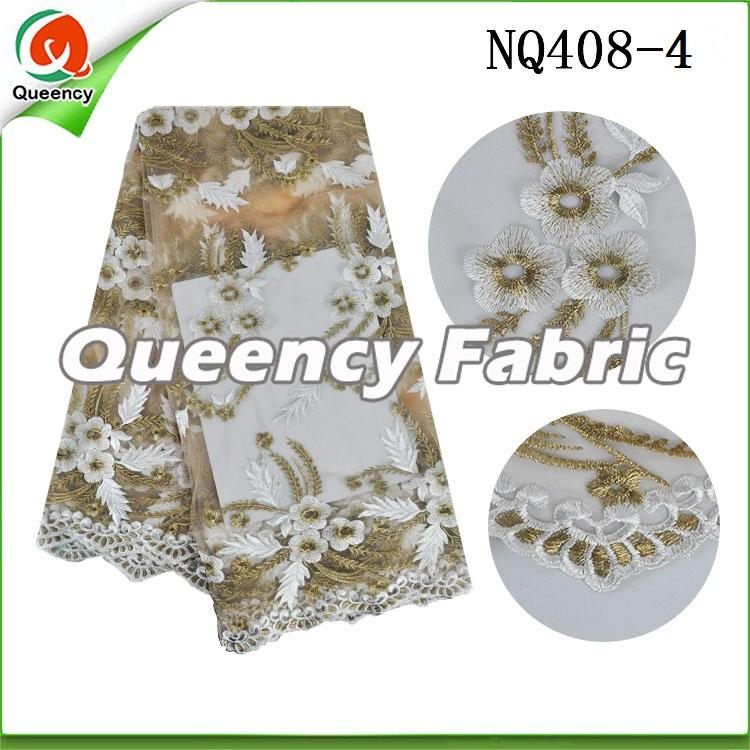 White Flower Embroidered Netting Fabric African Lace