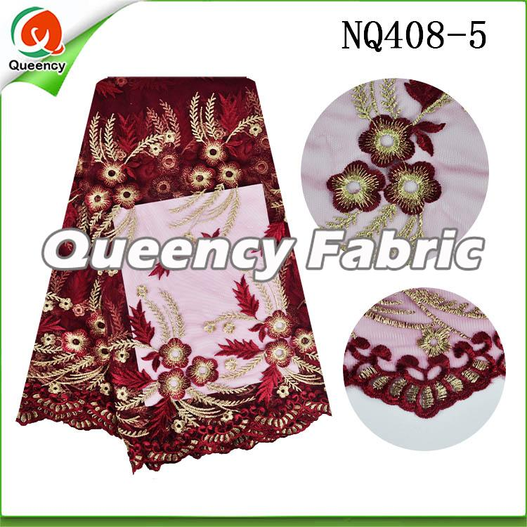 Wine Flower Embroidered Netting Fabric African Lace