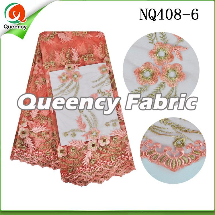 Peach Flower Embroidered Netting Fabric African Lace
