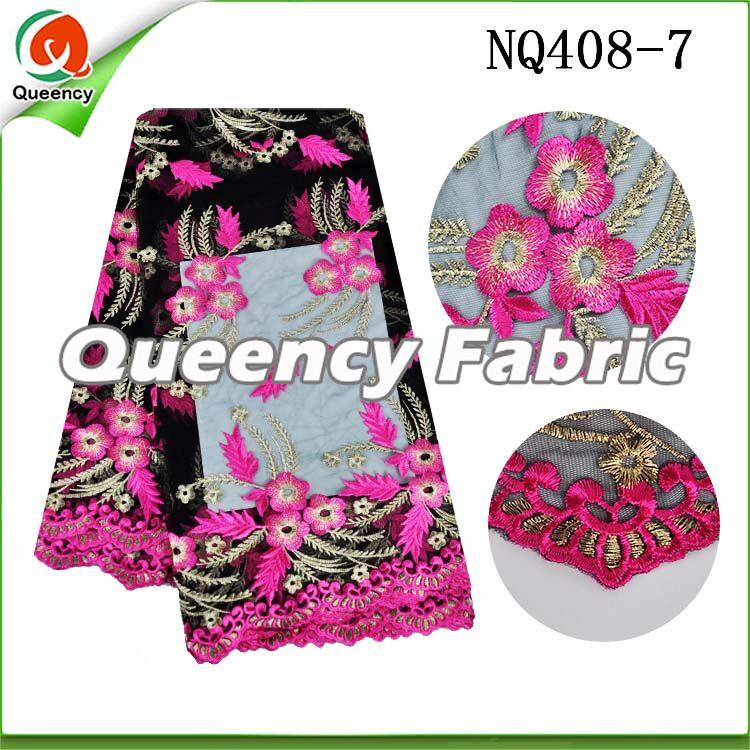 Fushia Flower Embroidered Netting Fabric African Lace