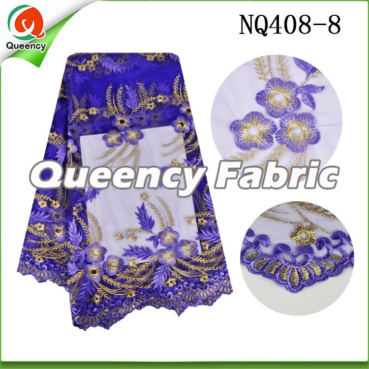 Purple Flower Embroidered Netting Fabric African Lace