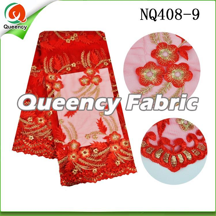 Red Flower Embroidered Netting Fabric African Lace