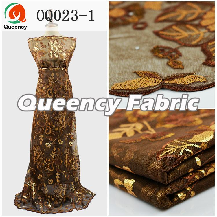 Coffee Color Sequins Organza Fabrics