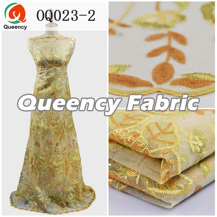 Beige Color Sequins Organza Fabrics