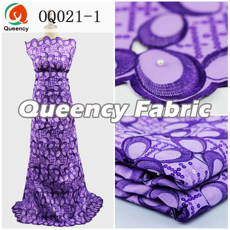 Purple Sequins Silk Organza Fabric