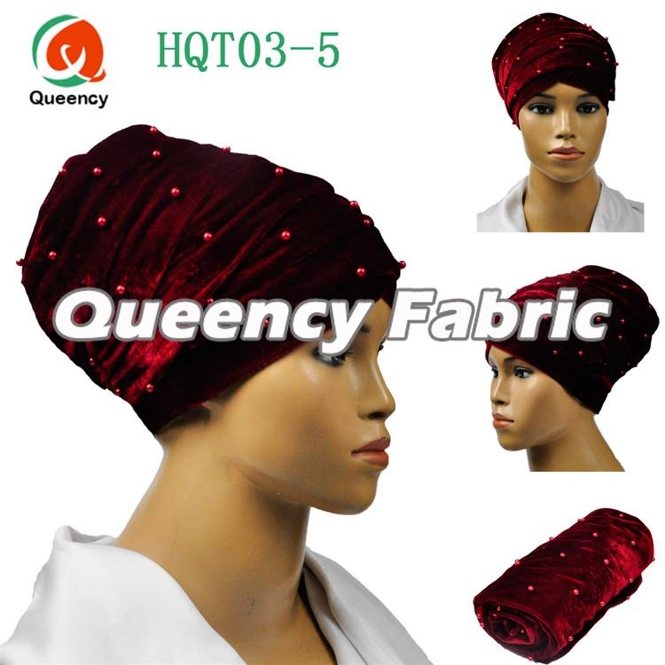 Ladies Headband Turbans Beaded In Wine