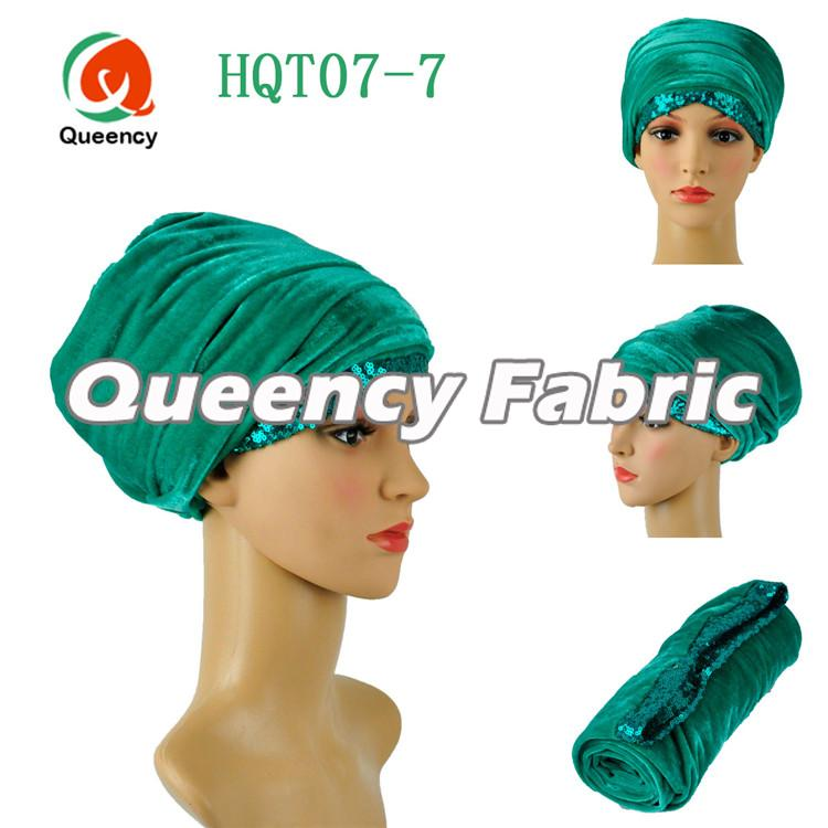 Sequins Velvet Turbans In Green