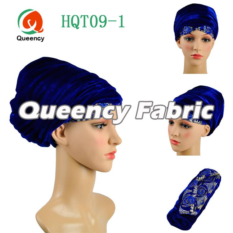 Royal Blue Velvet Embroidery Turban