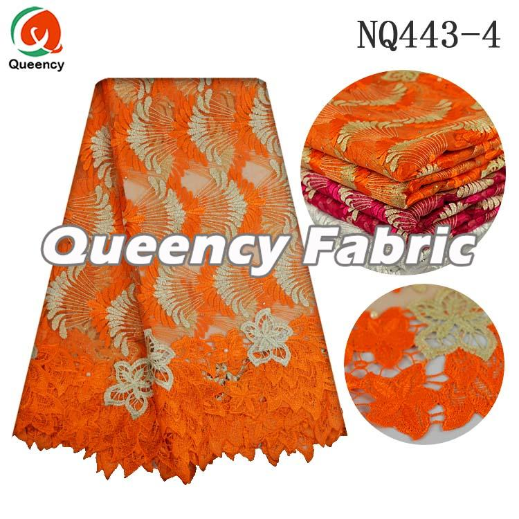 African Orange Net Fabric Lace