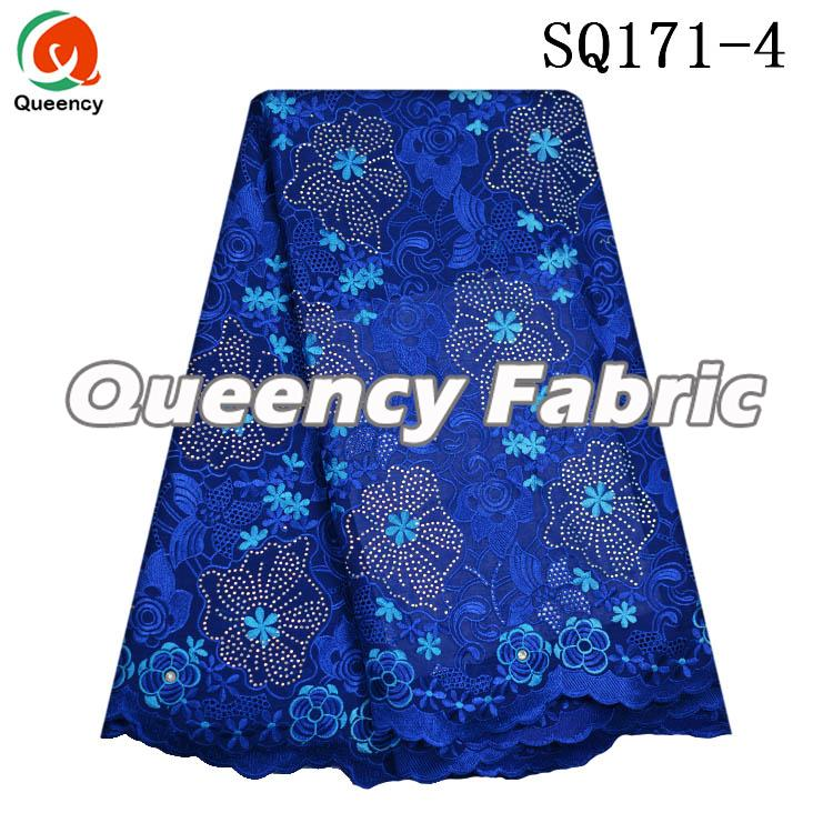 Royal Blue Voile Cotton Lace
