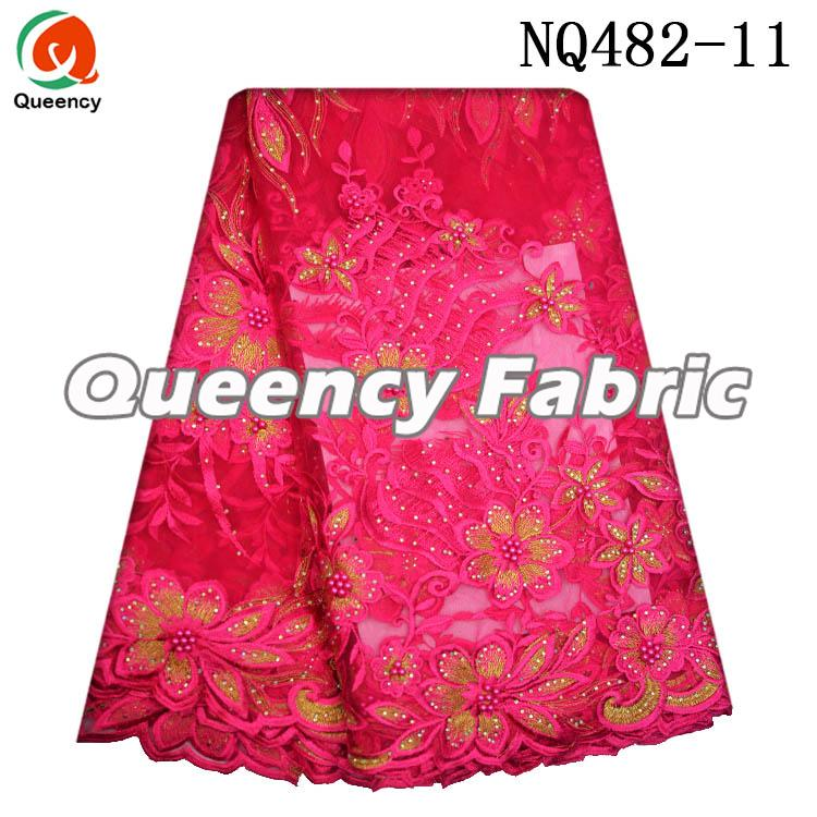 Fushia Ladies French Beads Lace Dresses