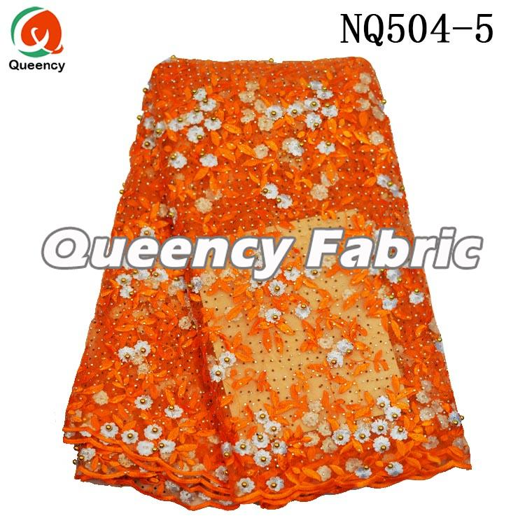 Orange Lace Beaded Heavy Embroidered