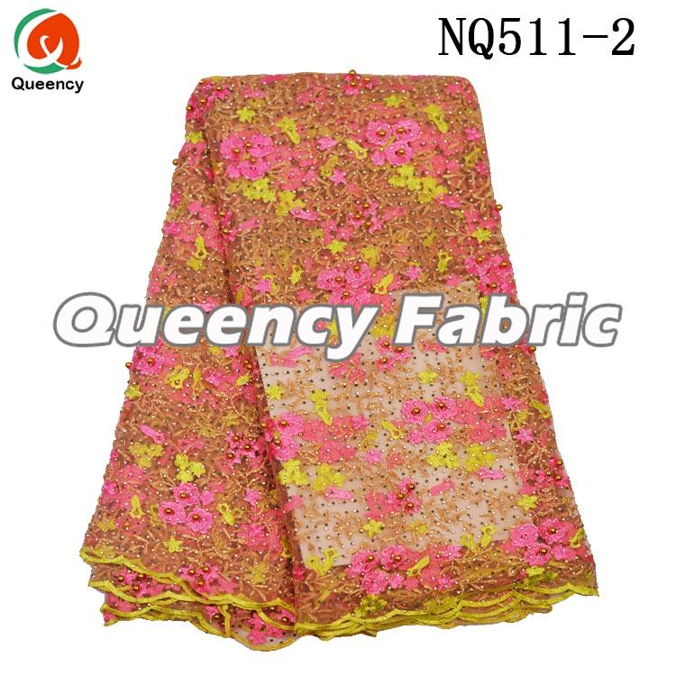 Net Lace Fabric With Stone And Beads
