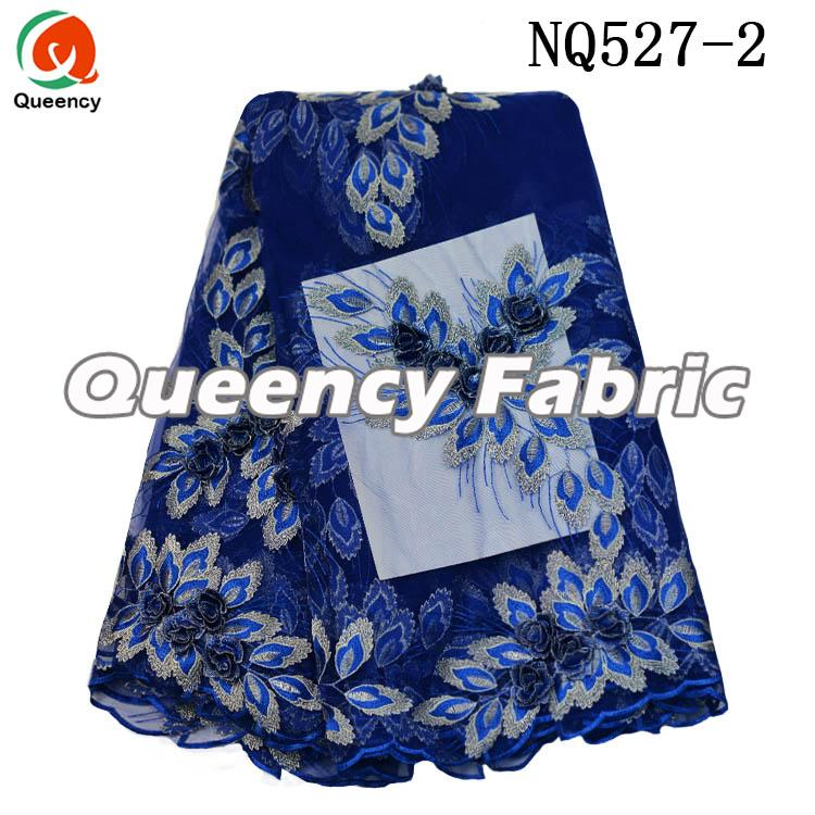Royal Blue Tulle Fabric 3d Lace Embrodiery