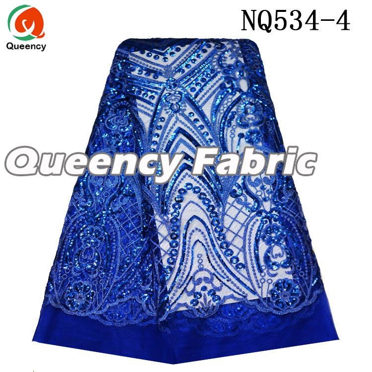 Royal Blue Sequins Lace Tulle Fabric