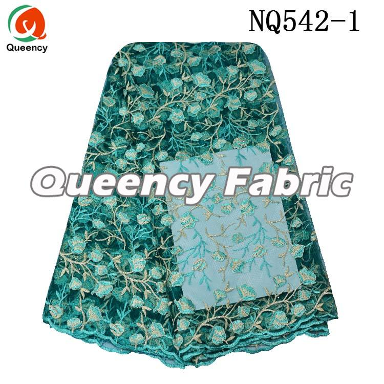 Teal Lace Cotton Embroidered Fabric