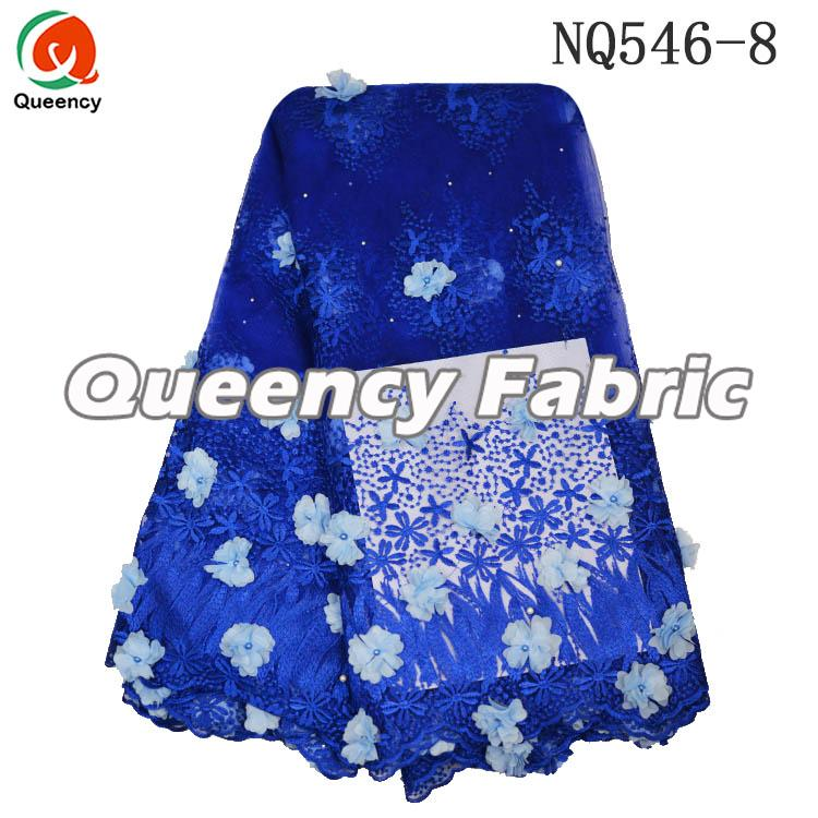 Royal Blue Lace Ladies Tulle Applique Fabric