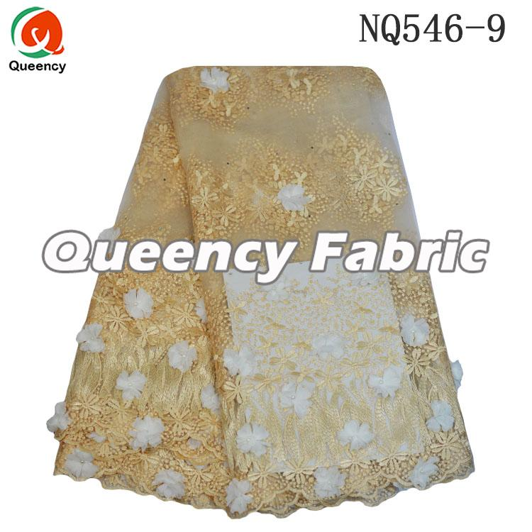 Gold Cotton Net Embroidered Lace Material