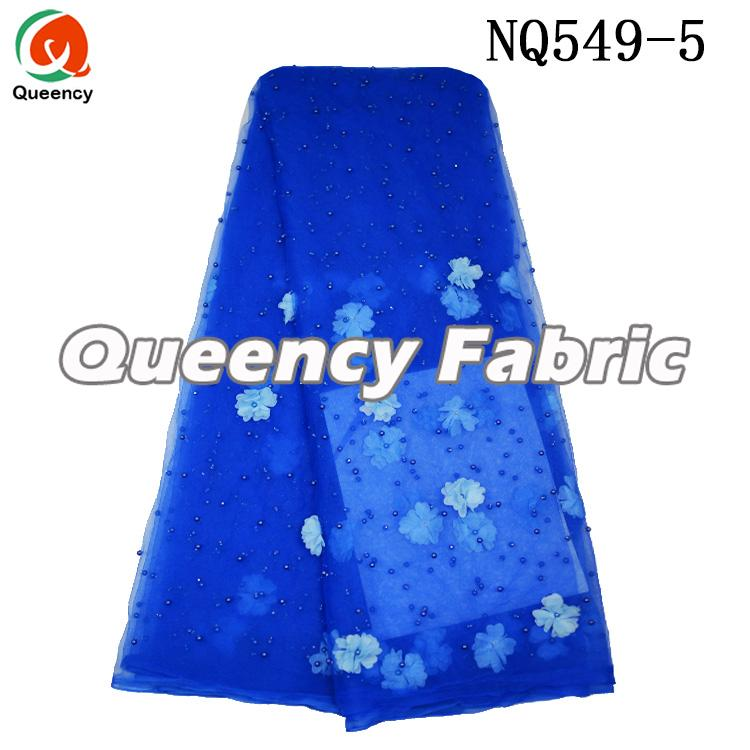 Royal Blue Applique Lace Tulle Fabric