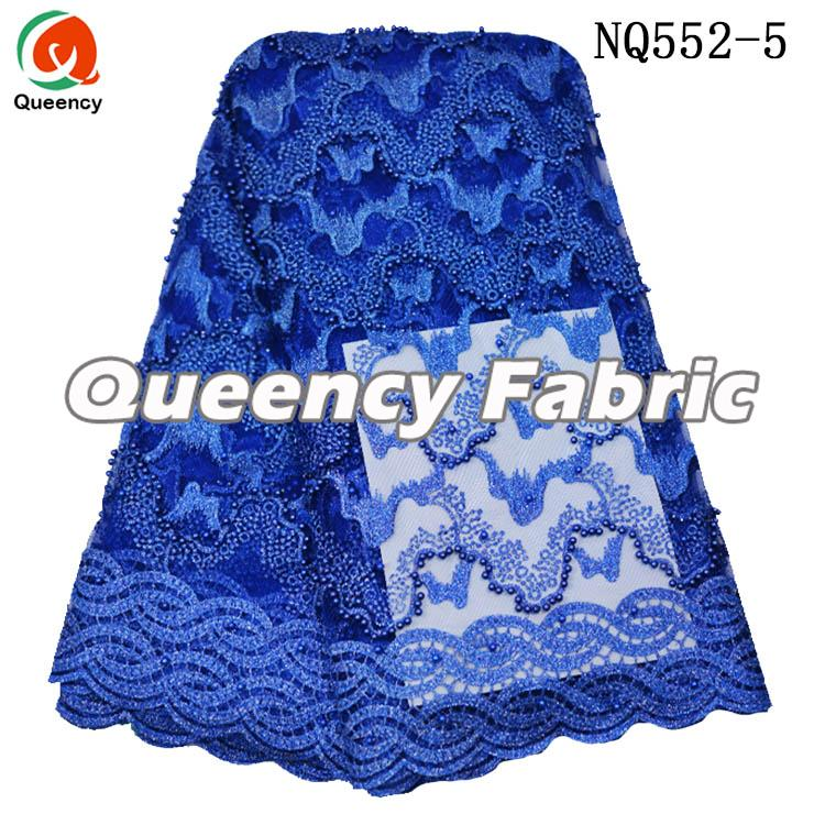 Plain Tulle Baeded Lace Embroidered Fabric