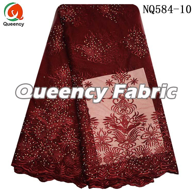 Wine Tulle Net Lace Embroidery