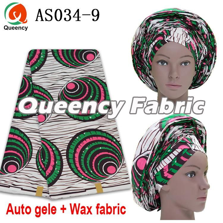 Auto Gele With Wax Fabric Set