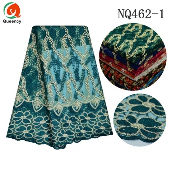 Lace Embroidery Soft Cotton Nigeria Stones Tulle Fabric