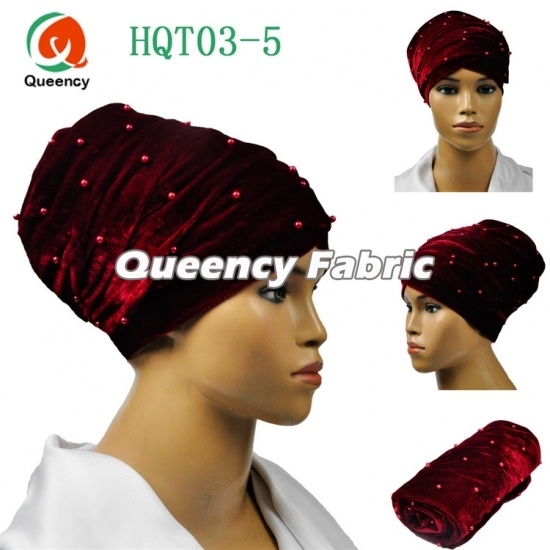Plain Velvet Turbans Nigeria Beaded Headtie Wrapper