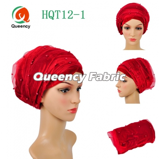 Nigeria Head Scarf Beaded Net Turbans Velvet Material