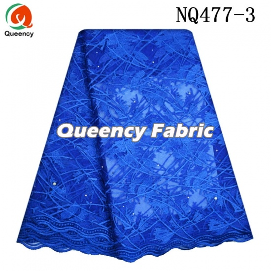 Nigeria Netting Lace Beaded Cotton Fabric