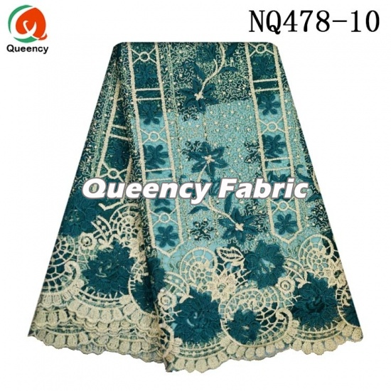 African Netting Beaded Lace Colorful Embroidery