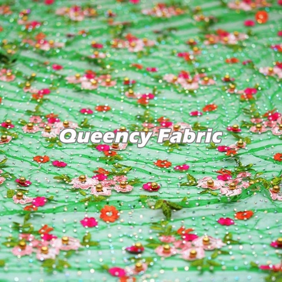 Heavy Beaded Tulle Embroidery Lace Fabric