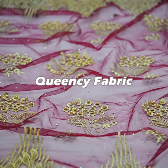 Newest Beaded Tulle Fabric Embroidery Lace