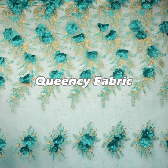 Nigeria Floral Lace Applique Embroidered Tulle Fabric