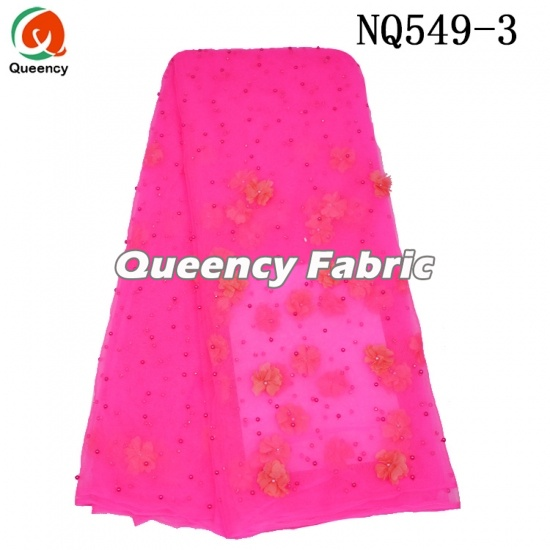 Nigeria Plain Tulle Net Beaded Lace Fabric