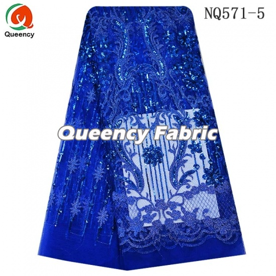 African Tulle Lace Sequins Fabric For Party