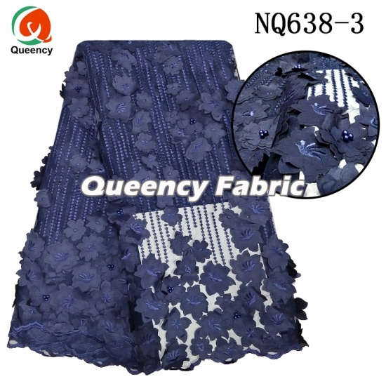 African Handmade 3D Applique Beaded French Lace
